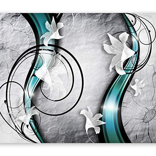 murando Fototapete Blumen Lilien 300x210 cm Vlies Tapeten Wandtapete XXL Moderne Wanddeko Design Wand Dekoration Wohnzimmer Schlafzimmer Büro Flur Betonoptik Abstrakt Ornament türkis grau a-A-0037-a-d