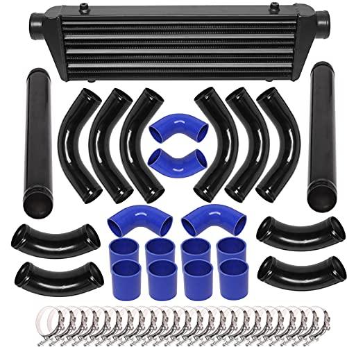 28'x7'x2.5' Universal Turbo Intercooler Kit with Front Mount Intercooler + 12pcs 2.5' Coupler Hoses + 12pcs Chrome Piping + 24pcs T-Bolt Clamps Black (12Pcs Black)