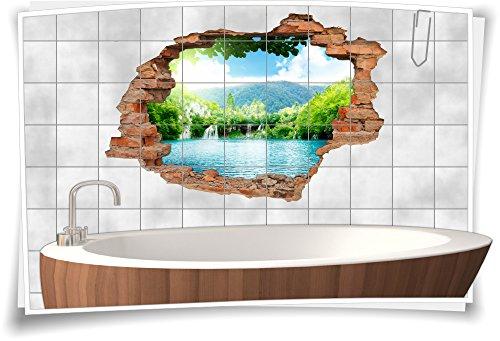 Medianlux Fliesenaufkleber Fliesenbild Fliesenaufkleber Wanddurchbruch See Wasserfall Bad, 75x50cm, 15x20cm (BxH)