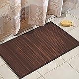 iDesign Formbu Bamboo Floor Mat Non-Skid, Water-Resistant Runner Rug for Bathroom, Kitchen, Entryway, Hallway, Office, Mudroom, Vanity, 34' x 21', Mocha Brown