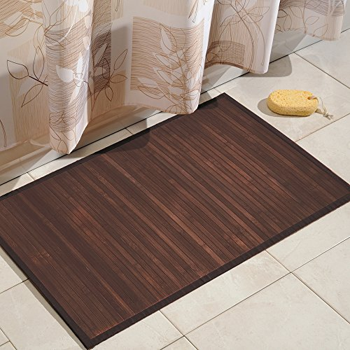 iDesign Formbu Bamboo Floor Mat Non-Skid, Water-Resistant Runner Rug for Bathroom, Kitchen, Entryway, Hallway, Office, Mudroom, Vanity, 34' x 21', Mocha Brown