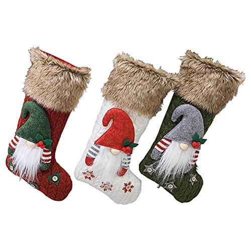 ANAJOY Gnome - Juego de 3 calcetines de Navidad para colgar de Navidad, para decoración de holiday o decoración de fiestas, color rojo, verde y blanco