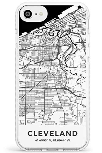 Mappa di Cleveland, Ohio Impact Cover per iPhone 7 Plus TPU Protettivo Phone Leggero con Viaggio Wanderlust Stati Uniti d'America Città Strade