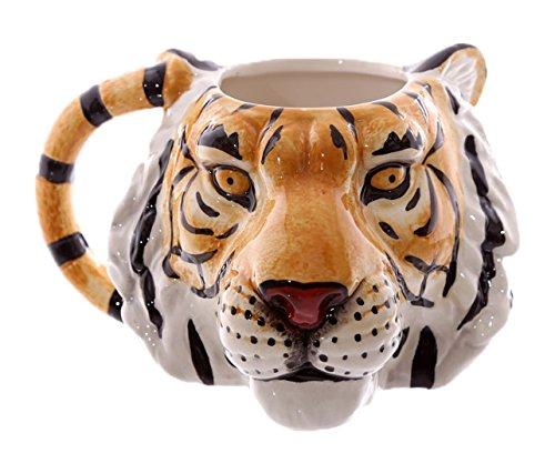 Puckator MUG227 Ceramic Mug with Tiger Head Design-Orange/Black/White, Mixed, Height 9.5cm Width 17cm Depth 12cm