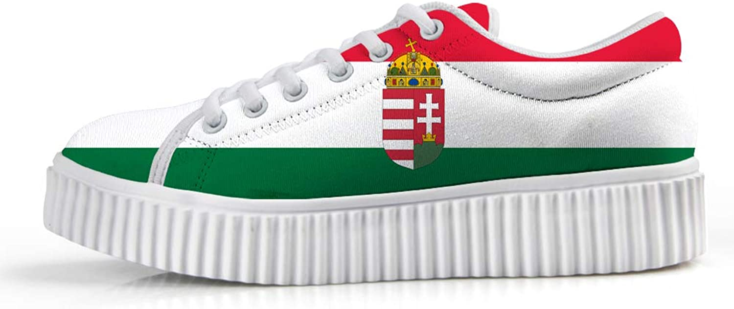 Owaheson Platform Lace up Sneaker Casual Chunky Walking shoes Low Top Women Hungary Flag National Emblem