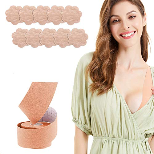 Instant Breast Lift Tape and Nipplecovers Pasties,Chest Support Tape, Adhesive Pushup Tape with 5 Pairs Petals Covers, Athletic Tape, Invisible Lift Bra,Body Tape
