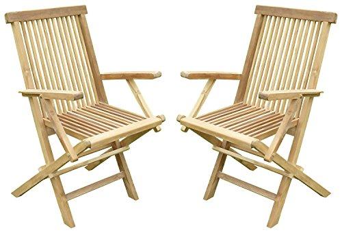Lot de 2 fauteuils pliants JENAË Teck Premium
