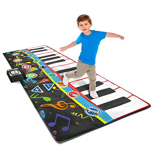 """Little Performer Piano Dance Mat for Kids   24 Key 70"""" Giant Floor Piano Music Mat   Electronic Step On Piano Keyboard for Girls and Boys 3+"""