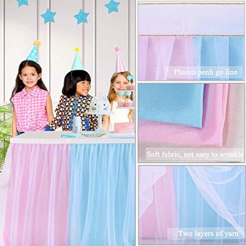 HBBMAGIC 3 Capas de Malla mullida Tabla de tutú Falda de vajilla de Tul para la Fiesta de Bodas de cumpleaños Decoración para el hogar Vistoso, 275 * 76CM