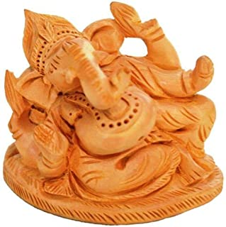 Wooden Idol Lord Ganesha (Ganapathi, Ganesh) for Table Top, Home Temple, Car Dashboard; Fine Hand-Carved