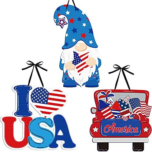 3 Piezas Decoraciones del 4 de Julio Letreros de Madera Patriótico de Día de la Independencia Carteles de America Placas Colgantes de Gnomos de I Love USA para Pared Puerta Ventana
