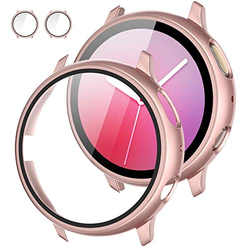 [2Pack] Tensea Compatible with Samsung Galaxy Watch Active 2 Screen Protector Case 40mm, Bumper Full Around Cover for Samsung Galaxy Watch Active2 40 (Pink, 40mm)