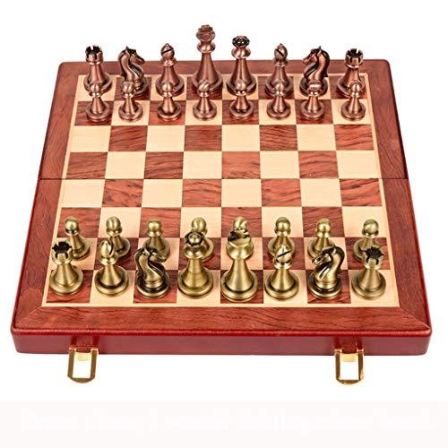 kxt Tablero Plegable para niños de Metal de ajedrez Juego de Mesa de ajedrez Especial Decoración del hogar Regalo (Color : Wooden Chessboard)