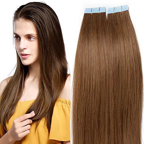 60cm Tape Extensions Echthaar 20 Stück Klebeband Verlängerung Haarteile 100% Remy Human Haar Kleber Hellbraun#6 24