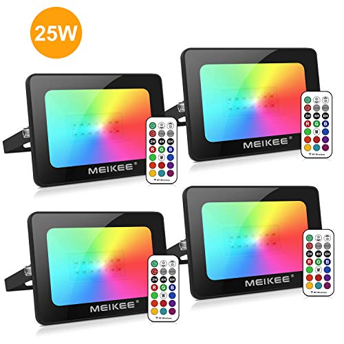 MEIKEE 4 Pack 25W RGB LED Flood Lights Outdoor Indoor LED Color Changing Floodlight with Remote Control, IP66 Waterproof Dimmable Wall Washer Light Party Stage Lights Garden Landscape Lighting
