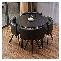 耐久性のあるテーブルと椅子のセット ダイニング5リビングルームキッチンレジャー表ソリッドウッド90cmの丸テーブル現代のレザーシートの表と椅子セット DYYD (Color : Round Table Black)