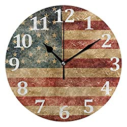 Baofu American Flag Wall Clock Round Vintage Patriotic Silent Non Ticking Battery Operated Accurate Arabic Numerals Design independence Day Decorative for Home Kitchen Living Room Bedroom 10 Inch