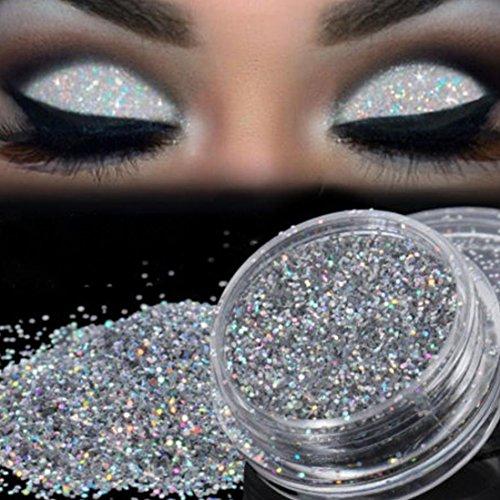 Fard À Paupières,BeautyTop Sparkly Makeup Glitter Poudre libre EyeShadow Silver Pigment d'ombre à paupières Fard À Paupières