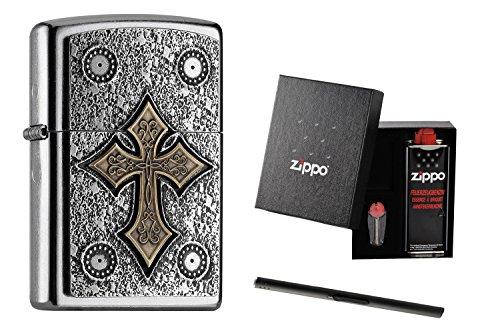 Zippo Skull Gothic Cross 2004752 set da regalo con asta portacipria