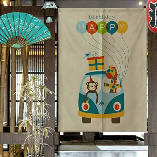 Kids Birthday Total Shade Patio Door Curtain for Kitchen Bistro Partition Shading Home Decorative Blue Hippie Bus with Monkeys Giraffes Balloons Surprise Box Artwork Print 17'W x 56'L| 2 Panels