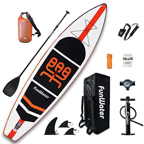 FunWater Stand up paddle board gonfiabile, 11 \ x 33 \ x 6 \ ultra leggero (45 kg), sup per tutti i livelli di difficoltà, tutto incluso con sacchi a secco da 10 litri, tavola, zaino da viaggio.