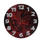 Meili Shop Reloj de Pared de dragón Chino Relojes Reloj Ligero Reloj de Pared Redondo Duradero