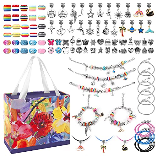 Joyhoop Hacer Pulseras Niñas, 94pcs Kit Joyería con Cuentas para Pulseras, Pulsera de Plata con 11 Pulseras, DIY Manualidades, Regalo Niña para Año Nuevo Cumpleaños Navidad, para Niñas 5-14 Años.