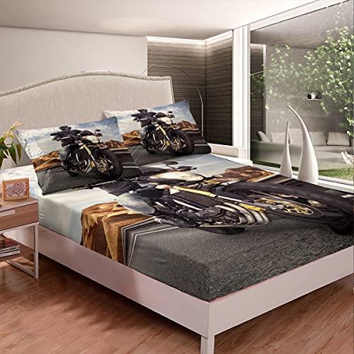 Extreme Sports Juego de ropa de cama para motocross, sábana bajera ajustable, ilustración de motocross, juego de sábanas para niños y niñas, color negro