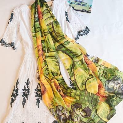 baidicheng Chal de playa 2021 Gran Tamaño Pintura al óleo Bufanda de seda de verano Suave Señora Chales y urdimbres Pashmina Bandana Foulard Viajes Estolas Playa (Color: 3)