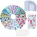 Yoption 32Pcs Cash Envelope System, 15 Pack Waterproof Reusable Plastic Budget Envelopes, 15 Pcs Expense Tracking Budget Sheets and 24 Bill Planner Stickers (Floral)