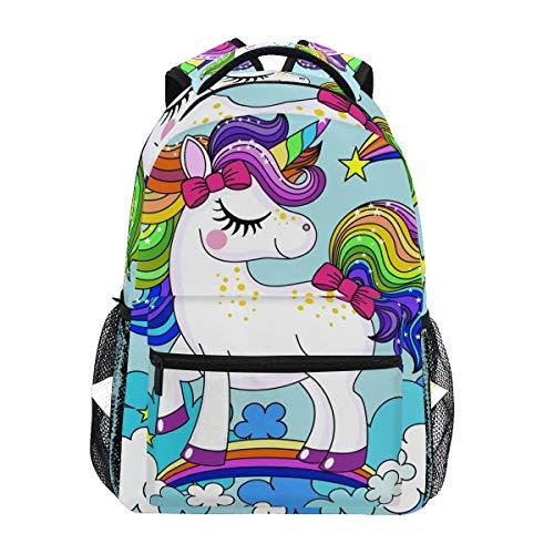 Rucksack Rucksack Perfekt für Schulreisen Baby Einhorn Regenbogen Haarfarbe Kindertagesstätte für Teen Boys Girls