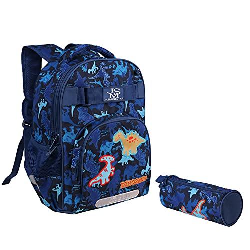 Mochila Escolar para Niños Mochila de Dinosaurio Conjunto de Mochilas para Estudiantes de Primaria Impermeable Nailon Mochila con Estuche para Lápices y Tiras Reflectantes de Seguridad, Azul