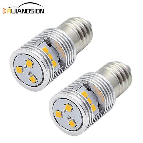 Ruiandsion Lot de 2 ampoules LED 4,5 V Jaune E10 de remplacement pour lampes de poche, lampe torche, kit de conversion de LED