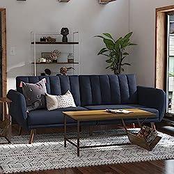 powerful Novogratz Brittany Duvet Sofa-Premium Upholstery and Wooden Legs-Navy Blue