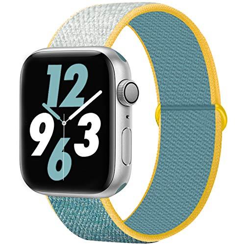 Qunbor Cinturino Compatibile con Apple Watch 38mm 40mm 42mm 44mm per iWatch Series 6 5 4 SE 3 2 1 Edition, Sport Nylon Intrecciato Loop Tessuto Regolabile Ricambio Flessibile Stoffa, Sole