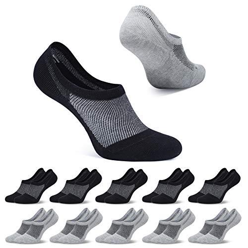 FALARY Sneaker Socken Damen Schwarz Grau Füßlinge Herren Kurze Socken 10 Paar 35-38 Füsslinge Unsichtbar No Show socks Sneakersocken