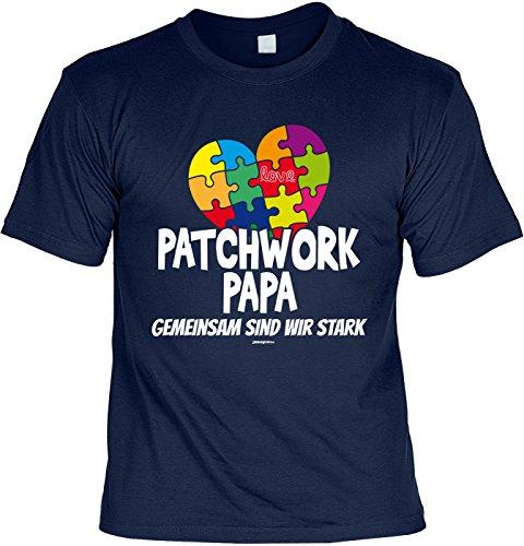 zum Vatertag T-Shirt Tochter Vater Geschenke Idee Patchwork Papa GEMEINSAM SIND WIR STARK Vatertagsgeschenk Papa Geburtstagsgeschenk Stiefvater klassischer Schnitt zum Geburtstag Gr: XL :