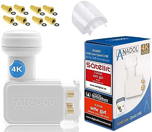 [ Test 2X SEHR GUT ] Anadol GoldLine Digital Quad LNB 4-Fach 0.1dB kälte & hitzebeständig - für 4 Teilnehmer + 8 F-Stecker + LNB Wetterschutz-Haube (für Schutz gegen Regen, Sonne, Hagel, EIS usw)