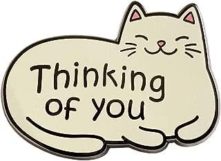 Cute Cat 'Thinking Of You' Enamel Lapel Pin