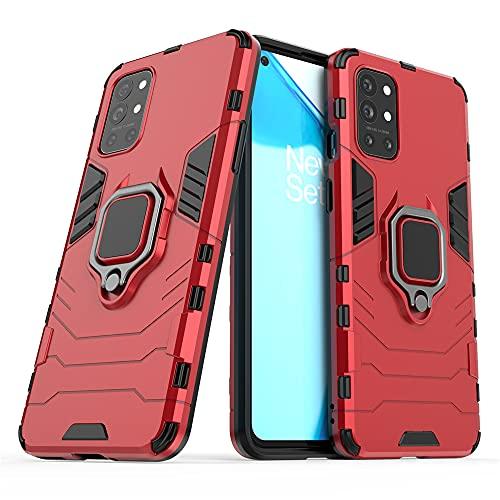 JIAFEI Funda para OnePlus 9R, Grado Militar Anti-Caída Carcasa Resistente con 360° Anillo Rotacion, Rojo