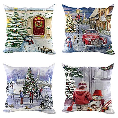 Higlles 45x45cm 4 Teiliges Set Romantische Weihnachten Schneemann Warm Kissenbezug Weihnachtsdekoration Startseite Sofa Kissen Taille Kissen Kissenbezug