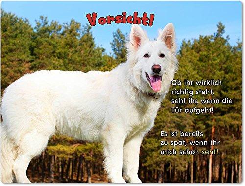 Merchandise for Fans Blechschild/Warnschild/Türschild - Aluminium - 20x30cm - mit Spruch - Motiv: Schäferhund Weißer Schäferhund - 05