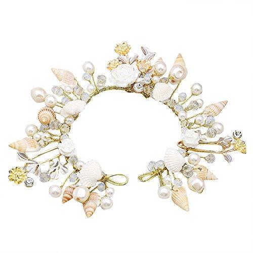 Dayiss® Braut Haarschmuck Handarbeit mit Perlen Muscheln Ktistall Hochzeit Rhinestone Brautschmuck (Weiß)