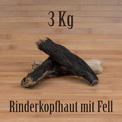3 Kg Rinderkopfhaut mit Fell Fellhaut Fellstreifen Fellohren Kausnack Kauartikel BARF