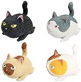 4 unids Gracioso Lindo Bola en Forma de Gato, Alivio de estrés Squeeze Ball Stress Toys, alivie la Herramienta de Ejercicio de la Mano de la ansiedad for los niños