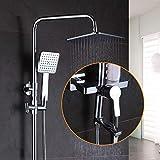 Busirsiz Moderno 8 'Conjunto Lluvia Ducha, Mezclador termostático de Dos Llaves, Mezclador de baño, Solo Mezclador Ducha de la Palanca, de Acero Inoxidable de Ducha de Mano, Ducha de Mano