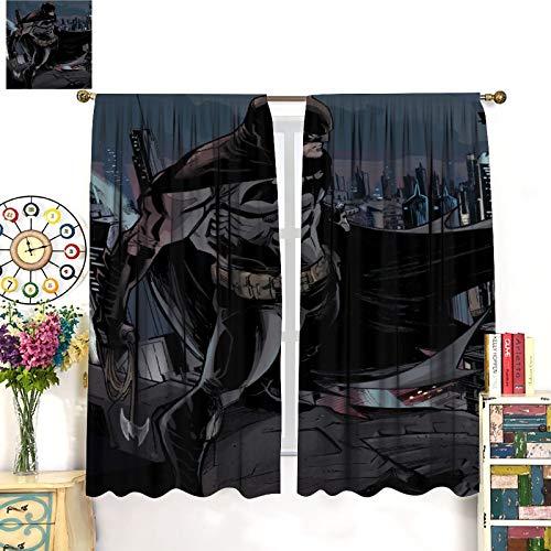 Petpany Decoración de cortina de Batman The Dark Knight Gotham de película de lujo, 107 x 160 cm, oscurece la habitación para estar, comedor, dormitorio