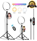 10.2' Selfie Ring Light with Adjustable Tripod Stand & Phone Holder for Live Stream/Makeup, Upgraded Dimmable LED Camera Ringlight for Tiktok/YouTube/Zoom/Photography, Compatible with iPhone & Android