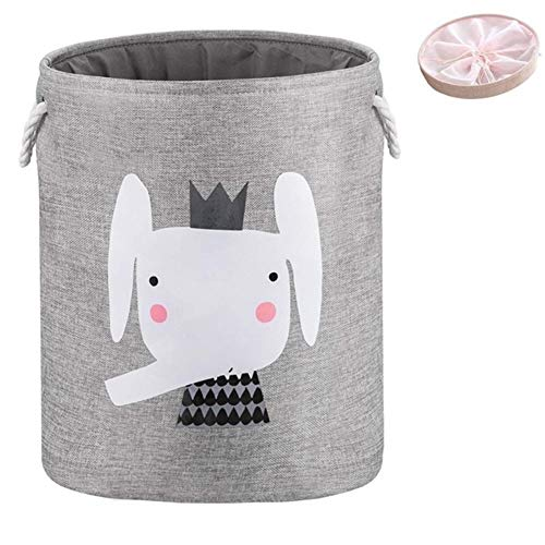 Large Folding Laundry Basket With Lid Toy Storage Baskets Bin For Kids Dog Toys Clothes Organizer Cute Animal Laundry Bucket (Color : Gray Elephant)