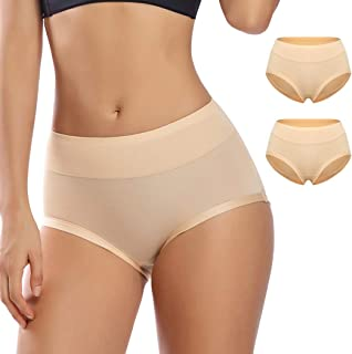 WOWENY Invisible Best Fitting Hipster Panties for Women Quick Dry Breathable Underwear 2 Pack Full Coverage Brief Panty
